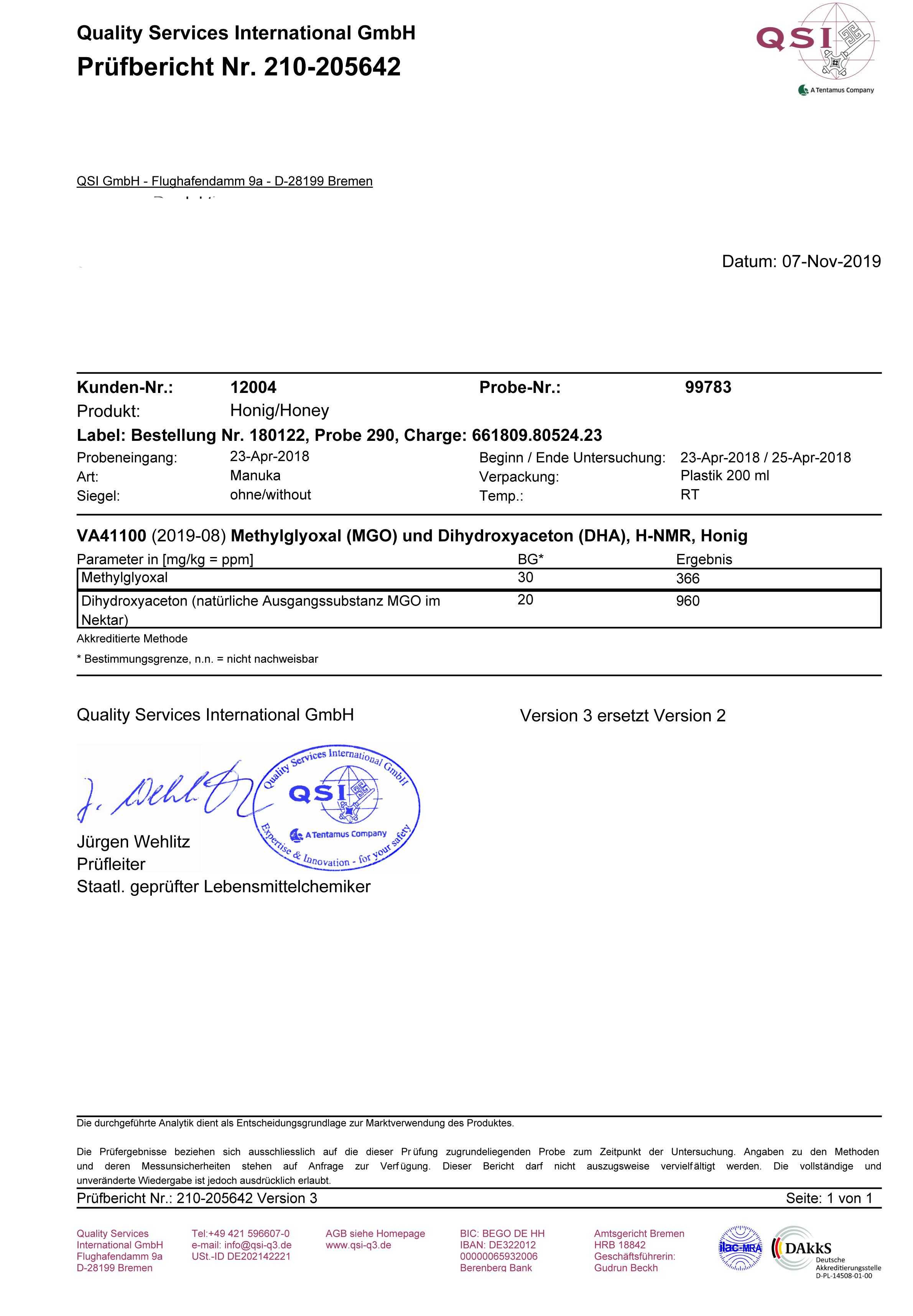 Manuka Honig MGO 366